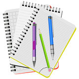 Three notebooks,  purple  pen, blue pen and green pencil Royalty Free Stock Photography