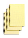 Three Notebooks. Top view. Isolated on a white. Stock Photos
