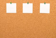 Three notes pinned to a cork Board Royalty Free Stock Photos