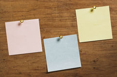 Three Notes with Tack. Stock Images