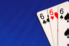 Three of the number six cards Stock Photography