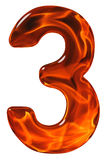 3, three, numeral from glass with an abstract pattern of a flami Stock Image