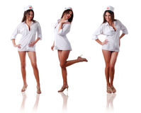 Three nurses. Collection of three sexy nurses at white bacground Stock Images