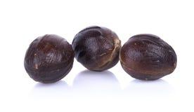 Three Nutmeg. Isolated on white background Stock Image