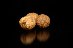 Three nuts. Composition of nuts on black background royalty free stock image