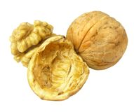 Three nuts isolated Stock Photo