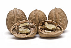 Three nuts and one opened. Royalty Free Stock Photo