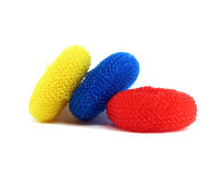 Three nylon scrubbers Stock Photo