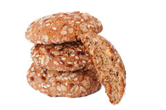 Three oatmeal cookies and a half Royalty Free Stock Image