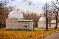Three observatory. Three secret observatory in the autumn forest Royalty Free Stock Images