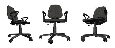 Three office chairs over white Stock Images