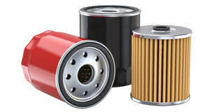 Three oil filter, 3d illustration. 3D render, isolated on white background Royalty Free Stock Image