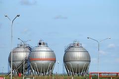 Three oil tanks Royalty Free Stock Photo
