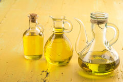 Three oilers glass of  extra olive oil Royalty Free Stock Image