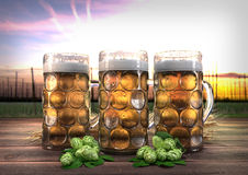 Three oktoberfest glasses of beer with barley and hops - 3D render Stock Photos