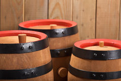 Three old beer barrels Royalty Free Stock Photo