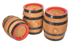 Three old beer barrels Royalty Free Stock Photos