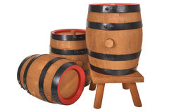 Three old beer barrels Stock Photos