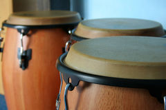 Three old bongos. Made of wood and leather Stock Photography