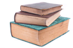 Three old books. On white background Royalty Free Stock Photos