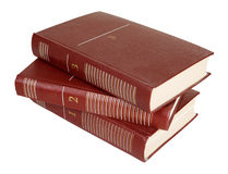 Three old books. On a white background royalty free stock image