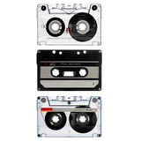 Three Old Cassette Isolated On White Royalty Free Stock Images