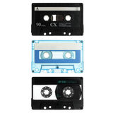 Three old cassettes isolated on white Stock Photography