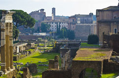 Three old columns in the Roman Forum in Rome Royalty Free Stock Photography