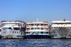 Three old dirty passenger ships Royalty Free Stock Photos