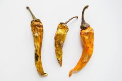 Three old dried and spoiled yellow peppers on white background, top view royalty free stock photos
