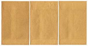 Three Old Envelopes on a White Background Stock Photography