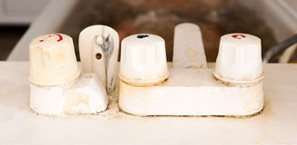 Three old faucet. Royalty Free Stock Images