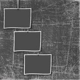 Three old frame on the grunge scratch background Royalty Free Stock Images