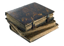 Three Old frayed books isolated Royalty Free Stock Photo