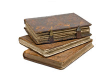 Three Old frayed books isolated over white Stock Photography