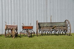 Three old grain drills Stock Photography