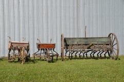 Three old grain drills Stock Photography