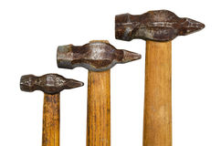 Three old hammer. Isolated on white background Royalty Free Stock Image