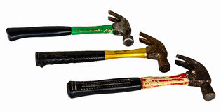 The three old hammers. Isolated on white background Royalty Free Stock Photography
