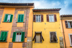 Three old italian houses. Stock Photos