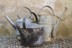 Three old kettles Stock Photography
