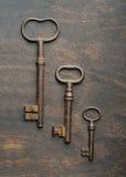 Three old keys stock photo