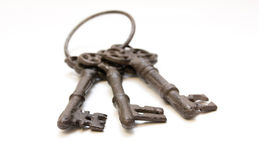 Three old keys in focus Royalty Free Stock Photo