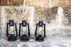 Three old lanterns in Santa Catalina monastery Royalty Free Stock Photo