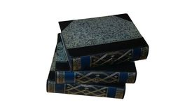 Three old leather bound books stacked on white. Three old leather bound books with gilt tooling on the spines stacked on top of one another isolated on white royalty free stock photography