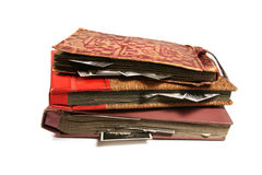 Three old photo albums Royalty Free Stock Images