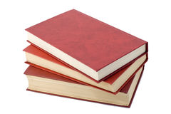 Three old red books. Three old retro  red books isolated on white Stock Photography