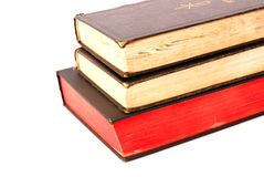 Three old religious books Stock Photo