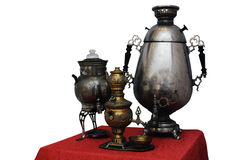 Three old Russian samovar on a white background Royalty Free Stock Images