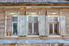 Three old russian style wooden window in Astrakhan Stock Image